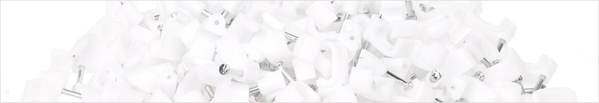 witte spijkerclips voor snoeren