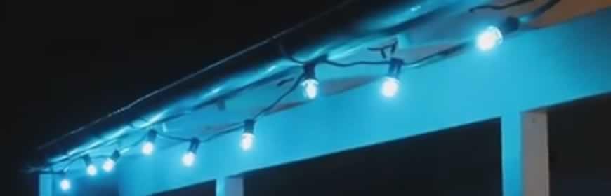 Prikkabel met blauwe filamnet lampen