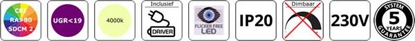 LED panelle UGR<19