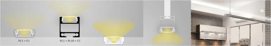 led profiel PL1 aluminium
