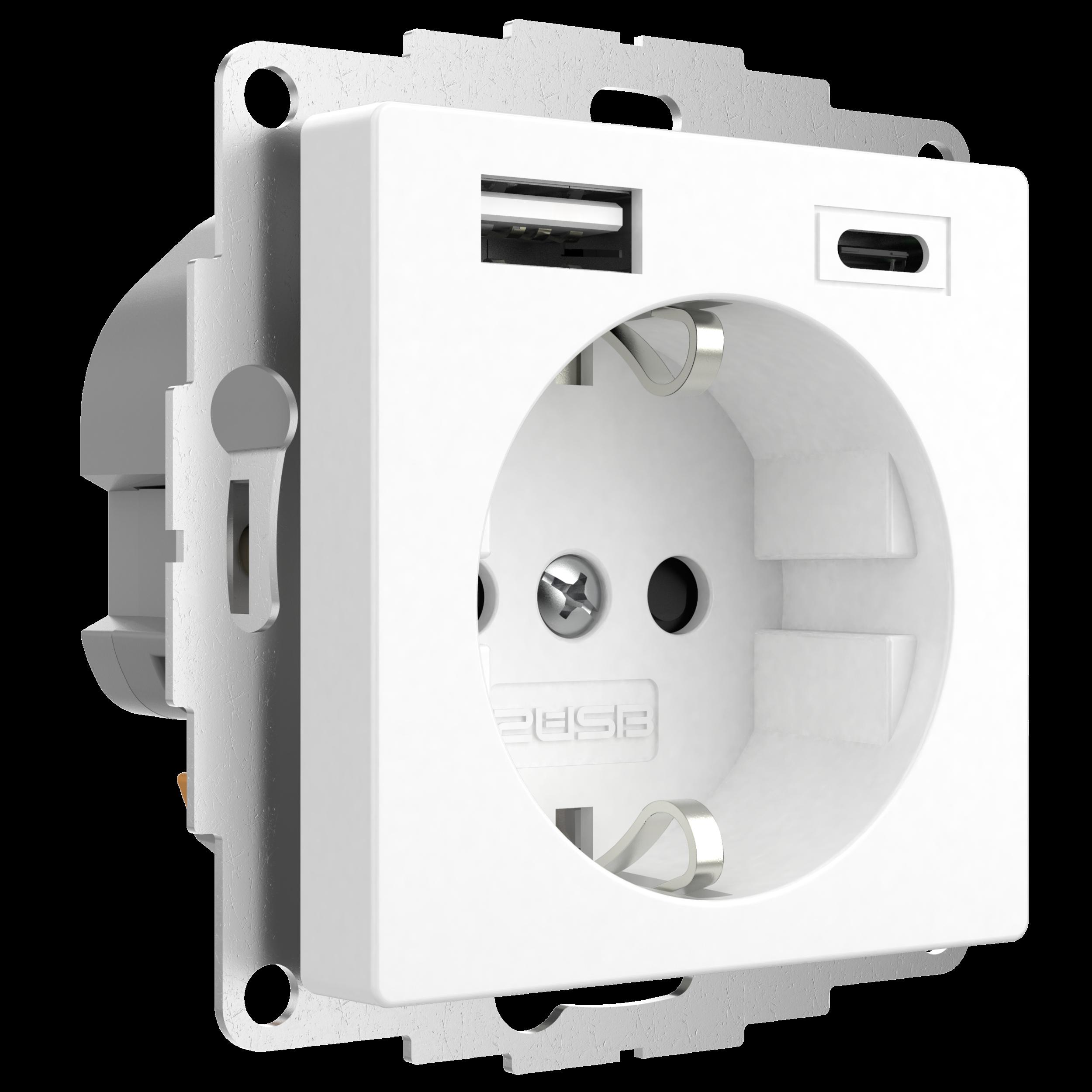2USB wandcontactdoos met USB-A en USB-C voor 55x55mm wit mat