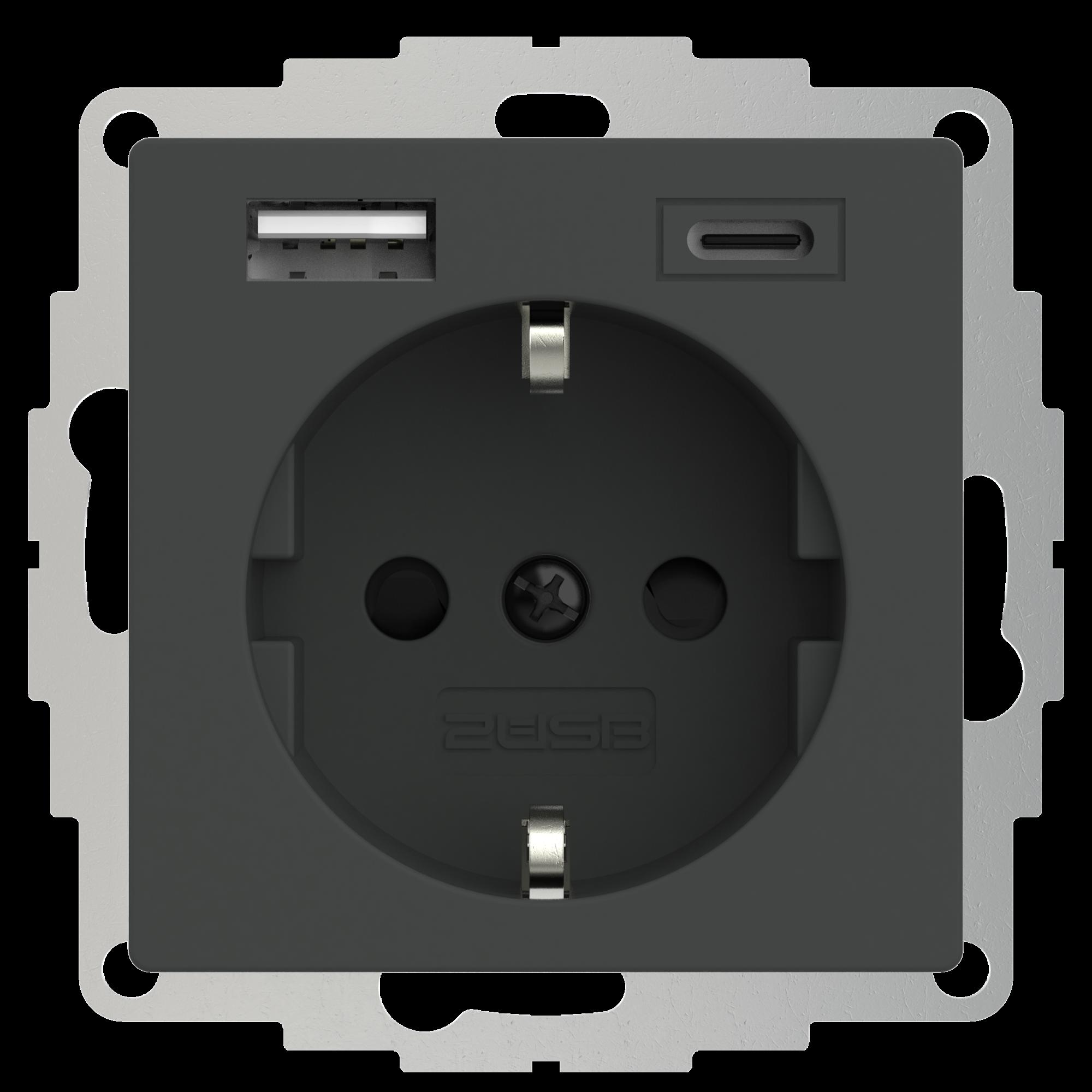 2USB 2U-449542 Geaard stopcontact Met USB-laaduitgang, Kinderbeveiliging, VDE IP20 Antraciet