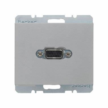 Berker K1 VGA wandcontactdoos met schroefklemmen aluminium mat