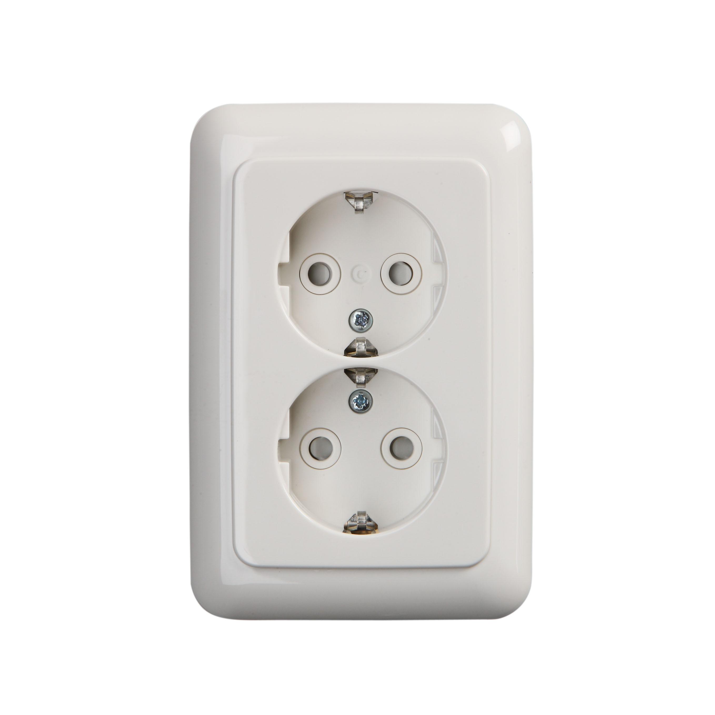 busch jaeger stopcontact 2 voudig met randaarde compact. Black Bedroom Furniture Sets. Home Design Ideas