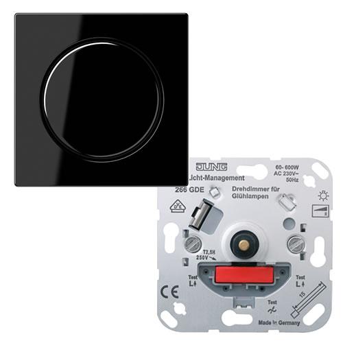 Jung A500 dimmer 266GDE met draaiknop voor gloeilampen 60 600W zwart A540SW