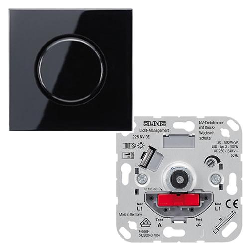 Jung LS990 dimmer voor conventionele trafo's met draaiknop 20 500VA zwart