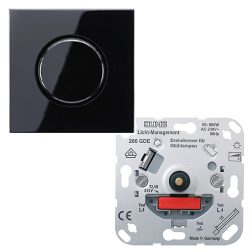 Jung LS990 dimmer voor gloeilampen met draaiknop 60 600W zwart