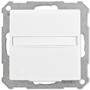 Stopcontact randaarde helder wit Klein systeem 55 met klapdeksel