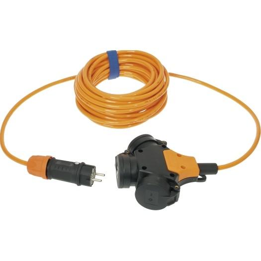 Verlengsnoer 5M PUR kabel 3x15mm² 3 voudig oranje