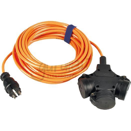 Verlengsnoer 25M PUR kabel 3x15mm² 3 voudig oranje