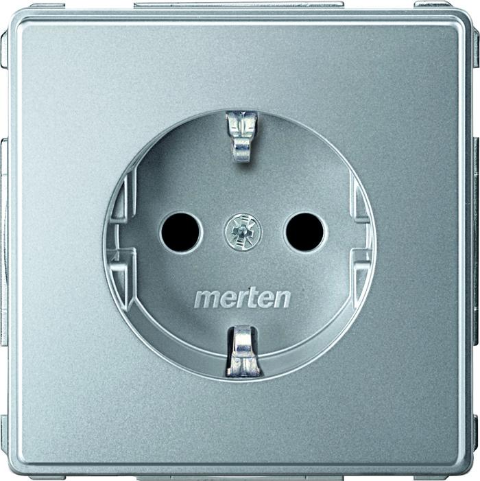 Merten Aquadesign 1-voudig stopcontact kinderveilig aluminium MTN2300-7260