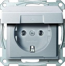 Merten stopcontact enkel aluminium 2311-0460 klapdeksel