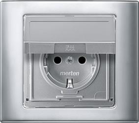 Stopcontact buiten inbouw Aquadesign aluminium stopcontact met klapdeksel en afdekraam waterdicht