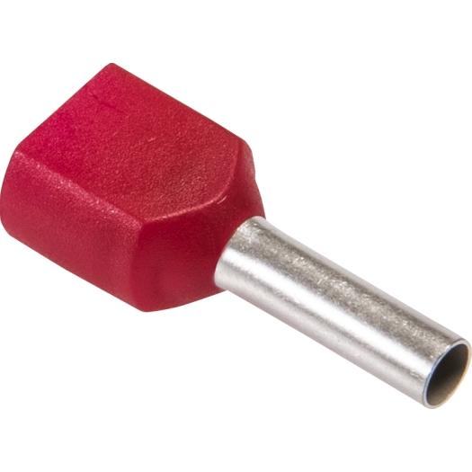 Twin eindaderhulzen geisoleerd 2x 10.0 mm 26.0 14.0 mm rood 100 stuks