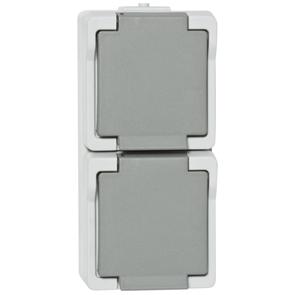 Twee grijze, waterdichte stopcontacten verticaal voor buiten van Presto Vedder