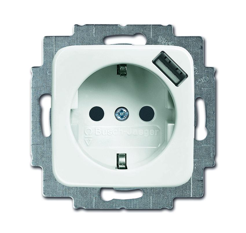 busch jaeger stopcontact met usb lader 214 si wit. Black Bedroom Furniture Sets. Home Design Ideas