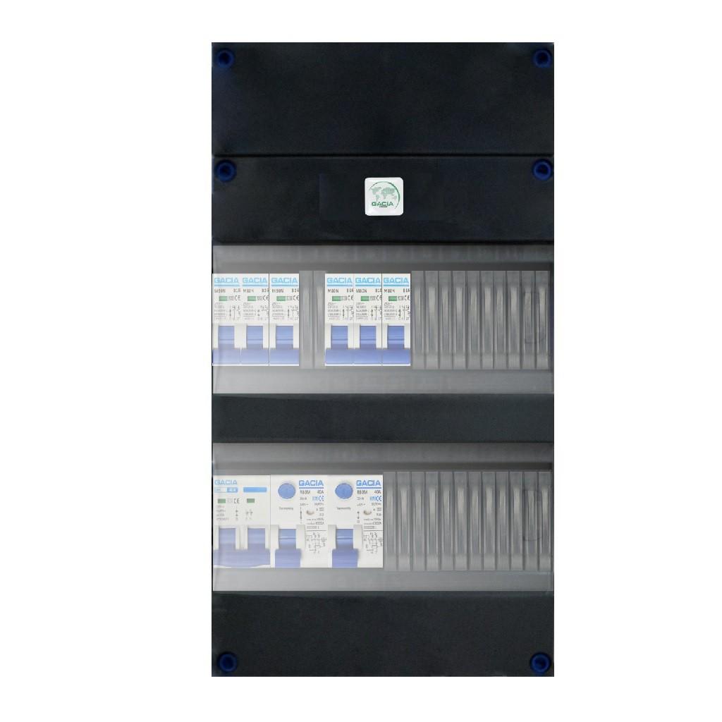 Groepenkast met 6 installatieautomaten 1 hoofdschakelaar en 2 aardlekschakelaars