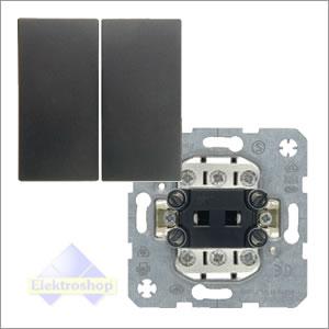 Berker S1 B1 B3 wissel wisselschakelaar met drukknop antraciet mat