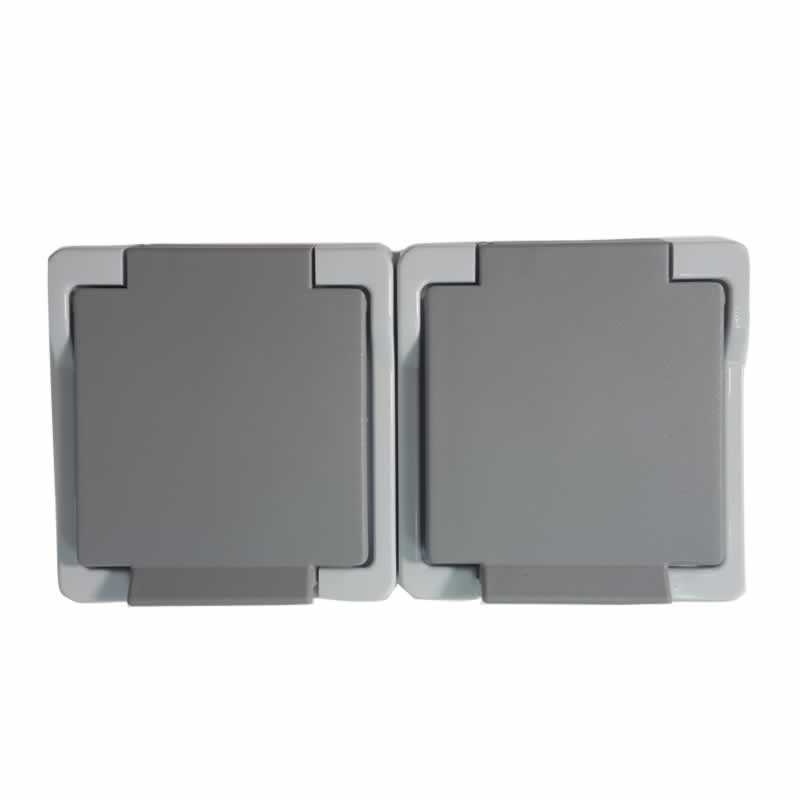 Twee grijze, waterdichte stopcontacten horizontaal voor buiten van Presto Vedder