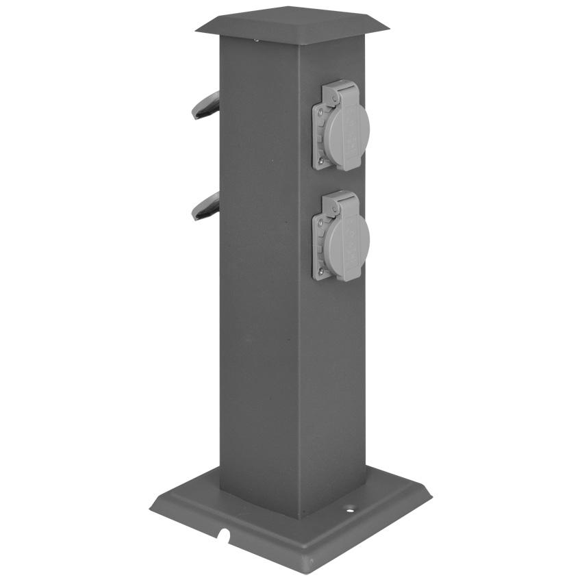 Tuinstopcontact antraciet zuil 4 stopcontacten