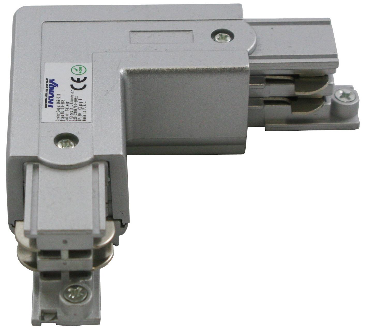 Haakse hoek verbinding voor een spanningsrail links aluminium 169-011