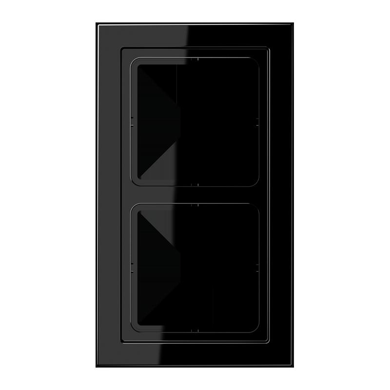 jung ls design afdekraam zwart 2 voudig duroplast schakelmateriaal. Black Bedroom Furniture Sets. Home Design Ideas