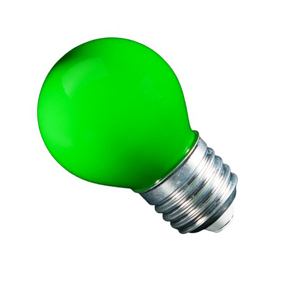 Gekleurde LED lamp groen 45mm E27 1W 6LED