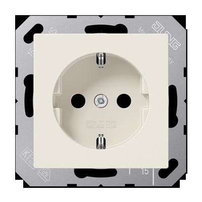 Jung A500 wandcontactdoos 1 voudig met randaarde inbouw aluminium A520NAL