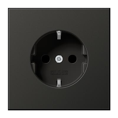 Jung LS990 wandcontactdoos 1 voudig met randaarde antraciet