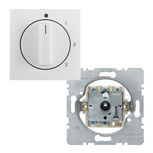 Berker S1 ventilatorschakelaar met draaiknop 0-1-2-3 alpine wit ral 9010 glanzend
