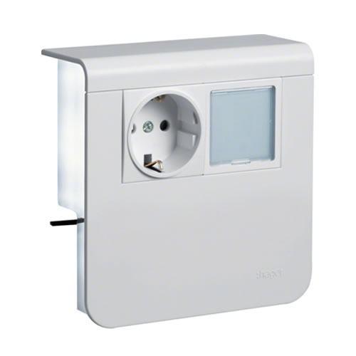 Hager plintgoot outlet stopcontact met LED-lamp wit 80mm