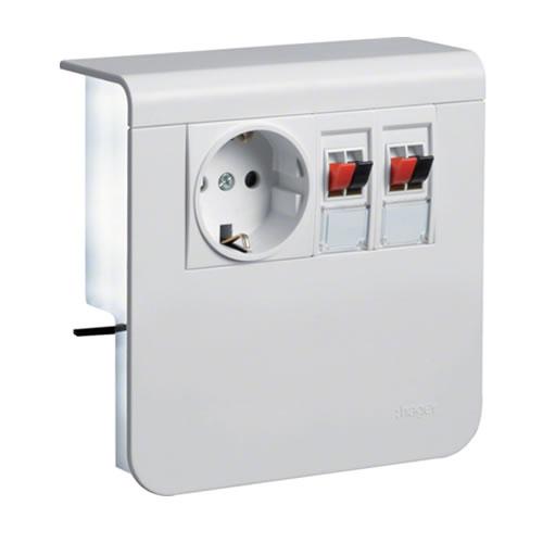 Hager plintgoot outlet stopcontact met dubbele luidsprekeraansluiting helder wit 55mm