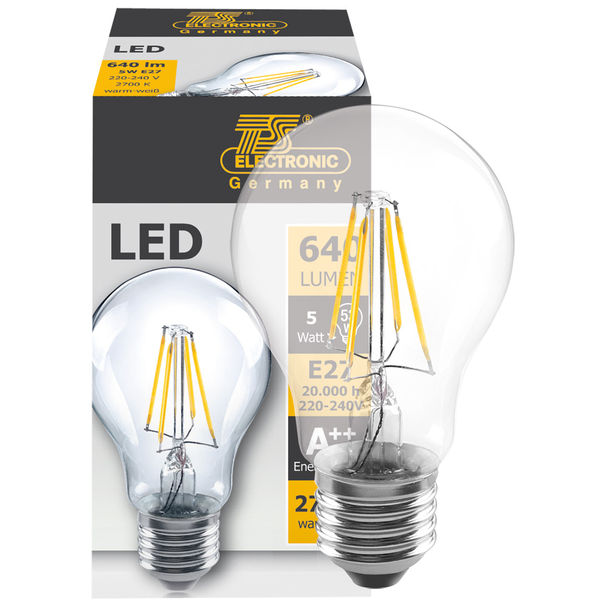 led filament lamp 5w 640 lumen e27 2700k. Black Bedroom Furniture Sets. Home Design Ideas