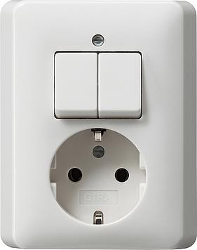 Gira combinatie serieschakelaar en wandcontactdoos met randaarde zuiverwit glanz