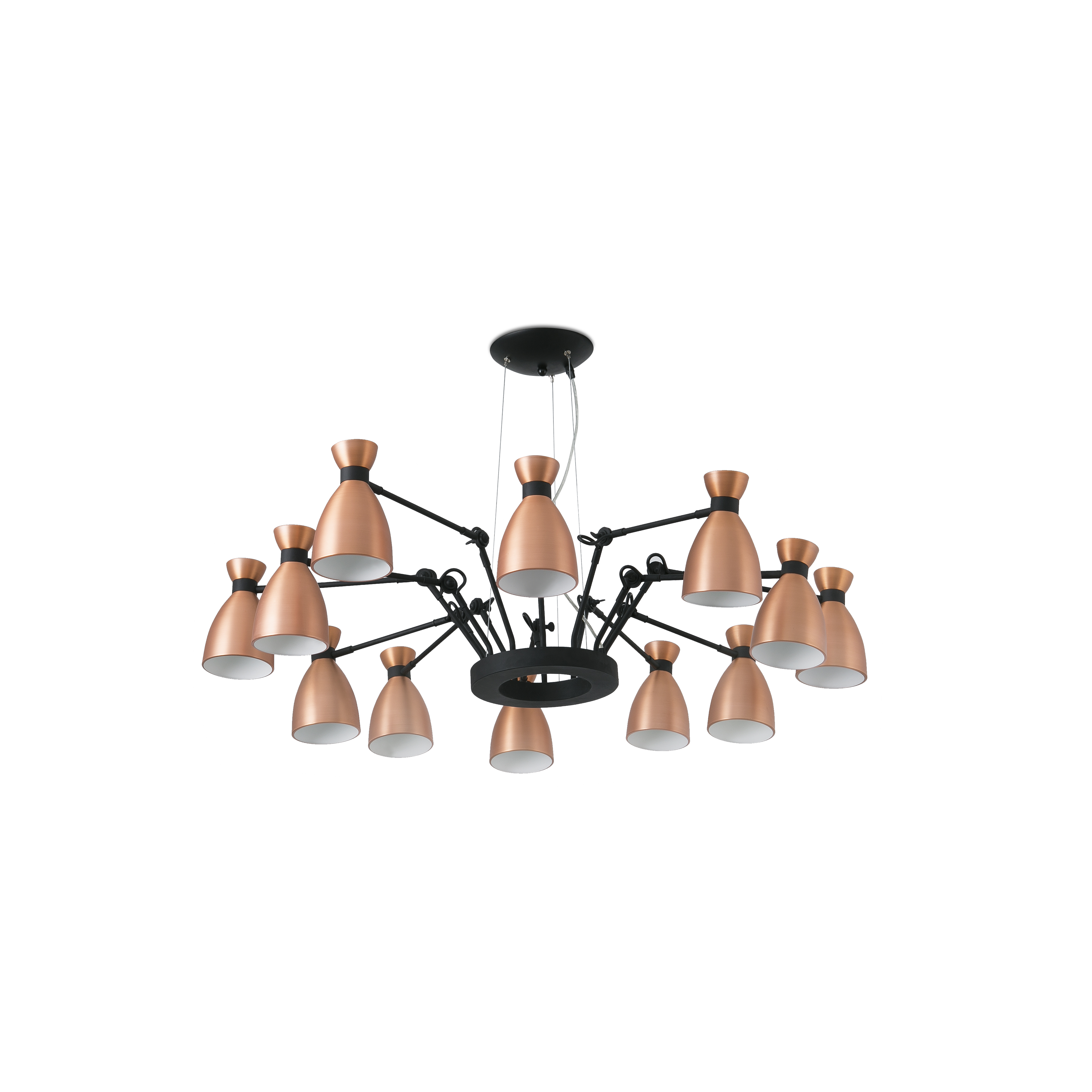 Retro hanglamp 12 armen koper