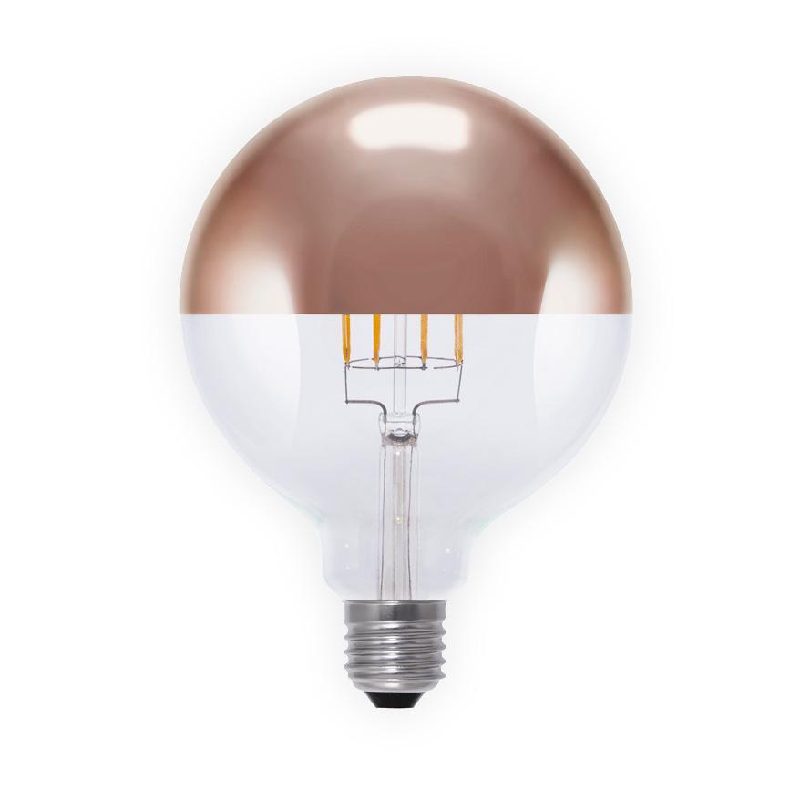 LED kopspiegellamp globe filament 8W Segula Bulb rosegolden