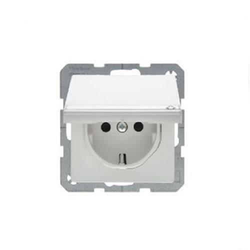 Berker Q.1 stopcontact met randaarde zelfsluitend klapdeksel kinderbeveiliging