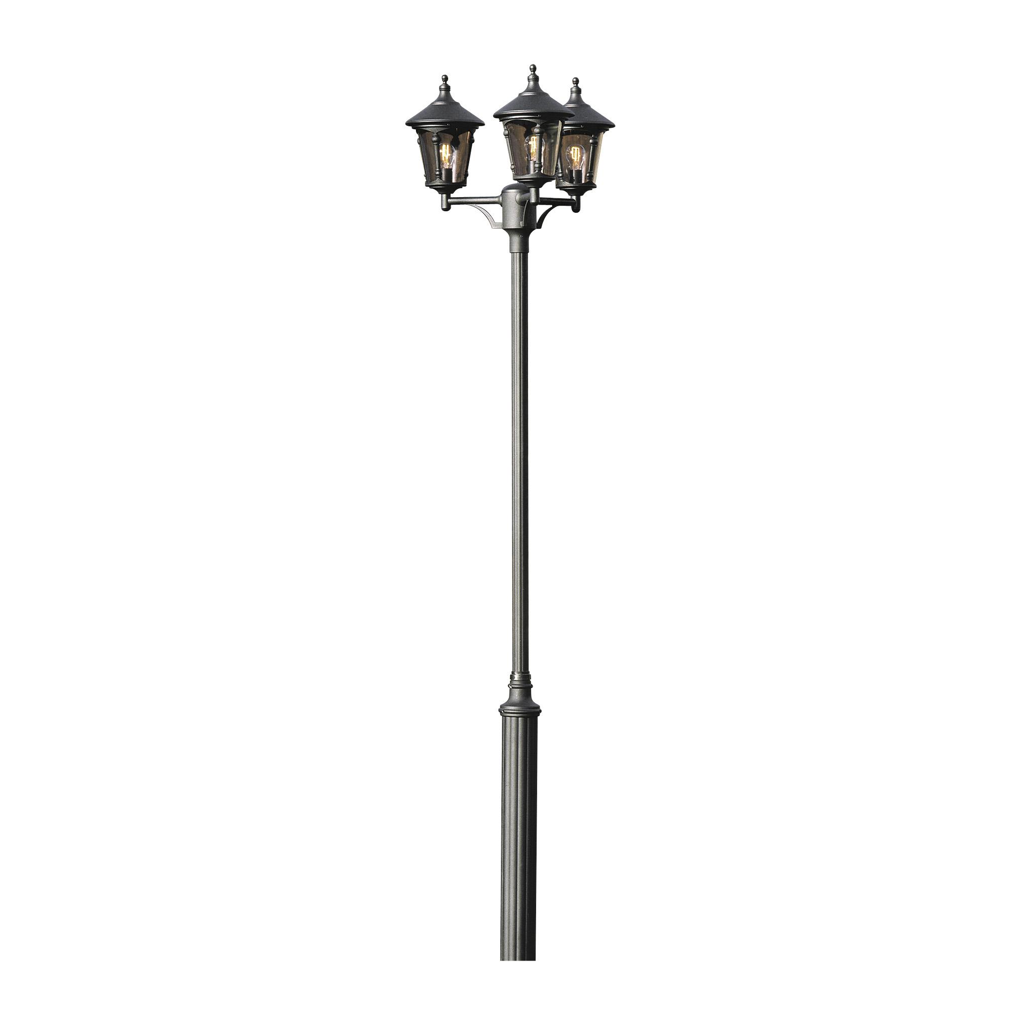 Lantaarnpaal 3 lichts Virgo Draco zwart buitenlamp Konstmide 573 750+ 579 750