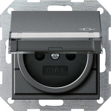 Gira stopcontact met penaarde antraciet klapdeksel tekstkader Belgie