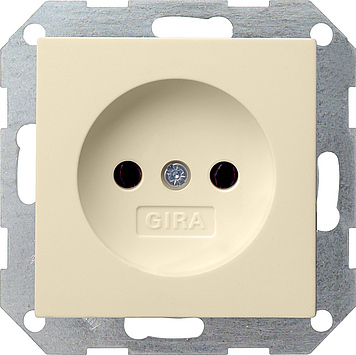 Gira 1-voudige wandcontactdoos zonder randaarde creme glanzend 048001