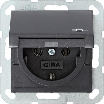 gira e2 stopcontact 1 voudig antraciet klapdeksel 045428. Black Bedroom Furniture Sets. Home Design Ideas