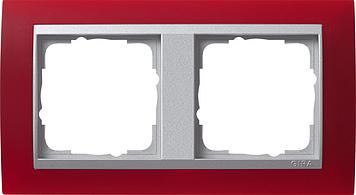 Gira afdekraam Event Opaak Rood Aluminium 2 voudig
