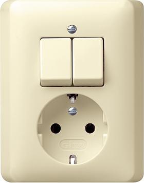 Gira combinatie serieschakelaar en wandcontactdoos met randaarde creme glanzend 017501