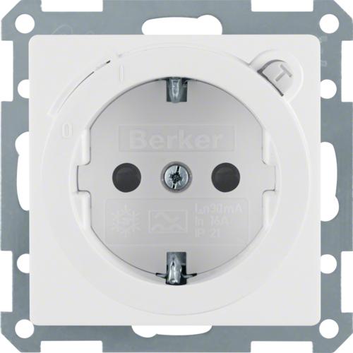 Berker Q.1 stopcontact met randaarde FI veiligheidsschakelaar en kinderbeveilig
