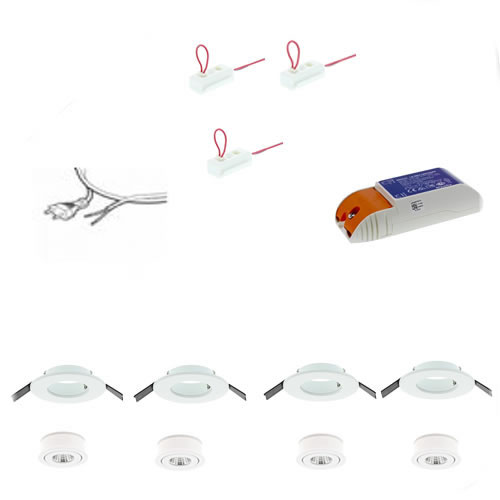 Badkamer LED inbouwspots set 4 aluminium 80mm Warm wit 3000K