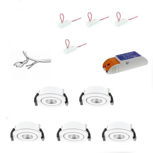 Badkamer LED inbouwspot set 5 aluminium Extra Warm Wit 2700K