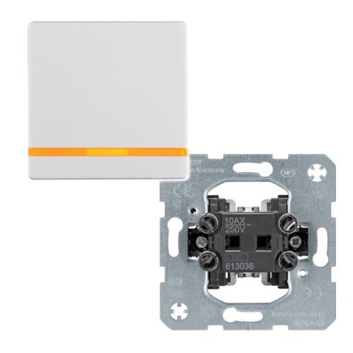 Berker Q.1 Wipschakelaar met lens tekstveld en opdruk belsymbool kruis polarwit