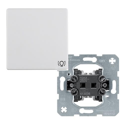 Berker Q.1 Wipschakelaar met opdruk lichtsymbool kruis polarwit