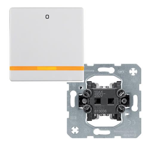 Berker Q.1 Wipschakelaar met oranje lens en opdruk 0 2 polig uit polarwit