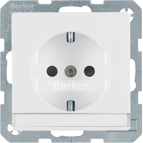 Berker Q.1 stopcontact met randaarde tekstveld kinderbeveiliging en schroefkle